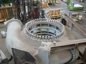 Turbine coated internally for erosion-corrosion protection