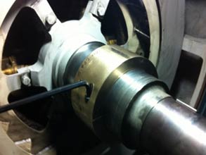 Shaft repaired using Belzona 1111 and a copper former