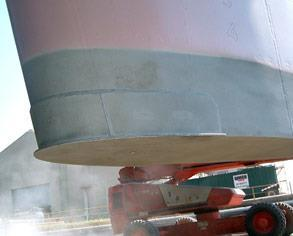 Cavitation erosion on marine ship rudder