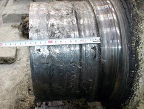 Excessive damage on the shaft of a mill