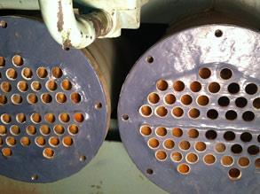 Heat exchanger repaired and protected using Belzona 1321 (Ceramic S-Metal) and Belzona 1111 (Super Metal)