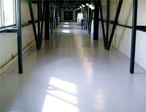 Repaired and protected concrete floor with Belzona 4000 series products