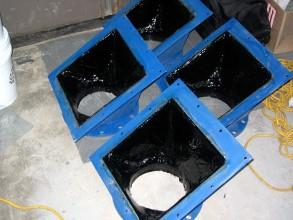 Belzona 1812 (Ceramic Carbide FP) applied to the hopper before overcoating with Belzona 2111 (D&A High-Build Elastomer)