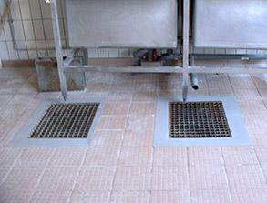 Repair of damaged tiles using Belzona 4111 (Magma-Quartz)
