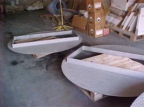 Newly fabricated steel chequer plates requiring acid  protection