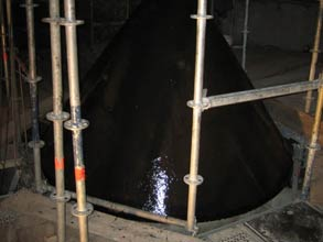 Silo cone coated in Belzona 4351