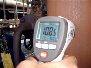 Temperature reading of the hot pipe